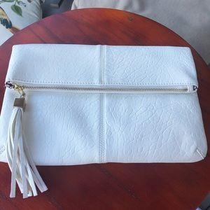 Moda Luxe White Foldover Clutch - Fringe Detail